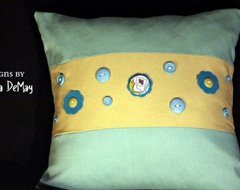 Blue and Green Buttons Pillow Cover
