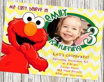 Sesame Street Elmo Photo Birthday Invite