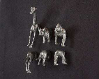 Gorilla Rhinocerous Giraffe Magnets - 6 super strong Silver magnets with neodynium magnets