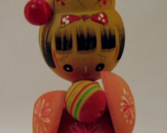 Wood Figure Asian Girl Japanese Style Doll Figurine For Display Home Decor