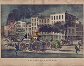 """Firefighter Gift or Decor Vintage 1866 Artwork """"The Life of the Fireman""""  11x14"""