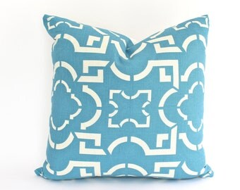 Teal Duralee Pillow Cover with Screen Printed Lattice Design