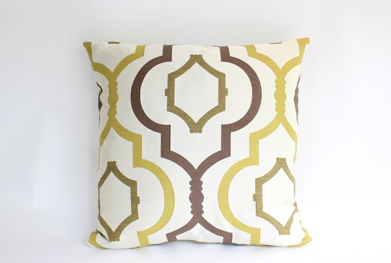Designer Pillow Cover in Chartreuse, Ivory and Brown Geometric Pattern, 20inch Square