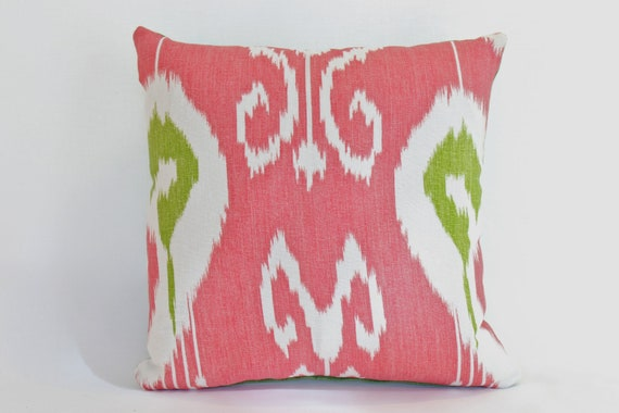 Decorative, Designer Bansuri Ikat Pillow Cover in Green and Raspberry Kravet Fabric