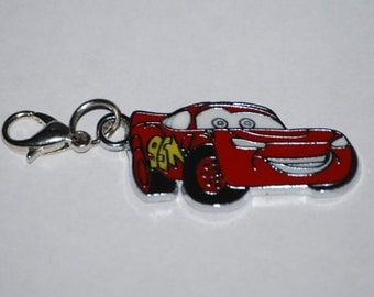 Disney Cars Lightening McQueen Enamel Clip Charm, zipper pull, backpack, cell phone, purse clip, bracelet, necklace or scrapbooking.