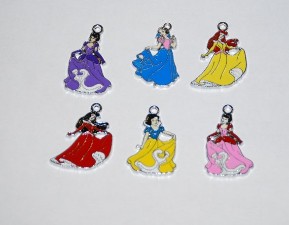 Six Beautiful Disney Princess Charms Snow White, Aurora, Sleeping Beauty, Cinderella.  Great for jewelry making, party gifts, scrapbooking