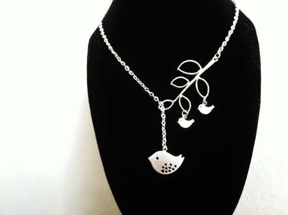 Silver bird necklace,bird necklace,silver bird,gift for mom and sister,best friend gift,christmas gift,2 baby bird,expectant mom gift