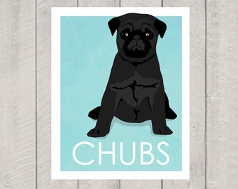 Black Pug Art Print - Custom Dog Art
