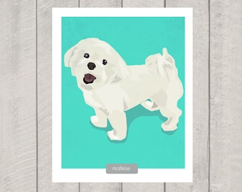 Maltese Art Print - Dog Print - 8x10