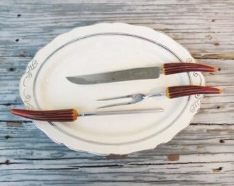 Vintage Carving Set Bakelite Handles Regent Stainles England Carving Set Faux Stag Horn Midcentury Carving Set
