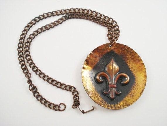 Copper Pendant / Vintage Fleur de Lys Pendant / Large Fleur de Lys Pendant