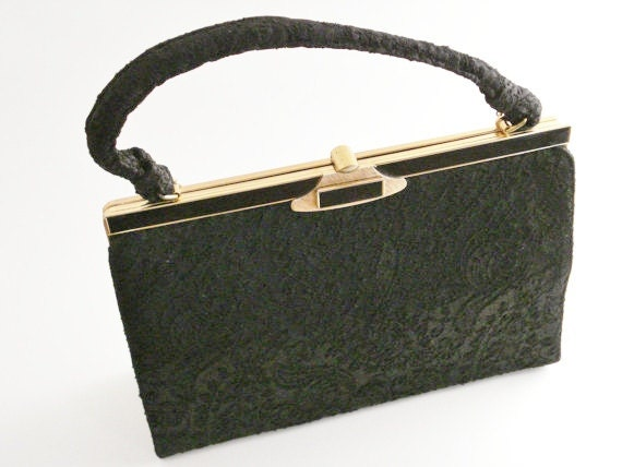 Vintage Handbag / La France Handbag / Paisley Handbag / Black Handbag TREASURY ITEM