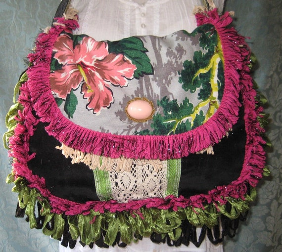 Gypsy Bags and Purses, Carpetbag Vintage Velvet Barkcloth Bohemian Purse