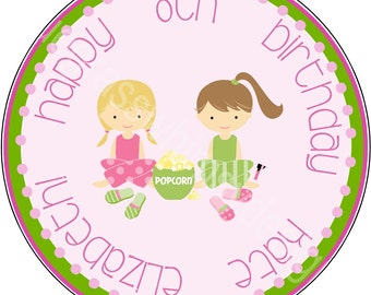 "2.5"" Round Cupcake Toppers for Slumber Party Birthday"