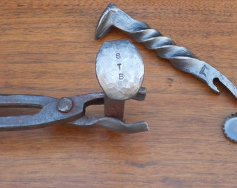 Forged Railroad Spike Bottle Opener with Monogram or Date Stamped