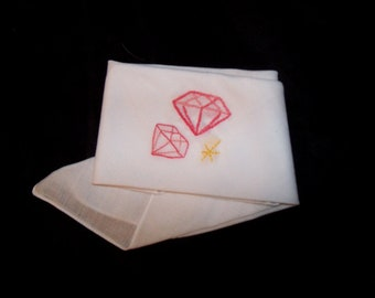 Embroidered Pink Diamonds on handkerchief. Can be personalized.
