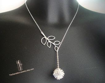 Dandelion Necklace, Branch Necklace, Lariat Necklace, Pendants, Charm Necklaces, Jewelry, Gift, SALE 10% OFF
