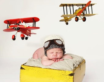 Newborn Props//Newborn Aviator Hat//Newborn Boy Hat//Crocheted Baby Hat//Newborn Photo Prop//Crochet Hat//Photography Prop//Baby Shower Gift