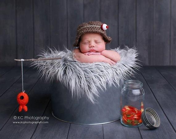 Baby boy hat fisherman set newborn photo prop crochet hat for Toddler fishing hat