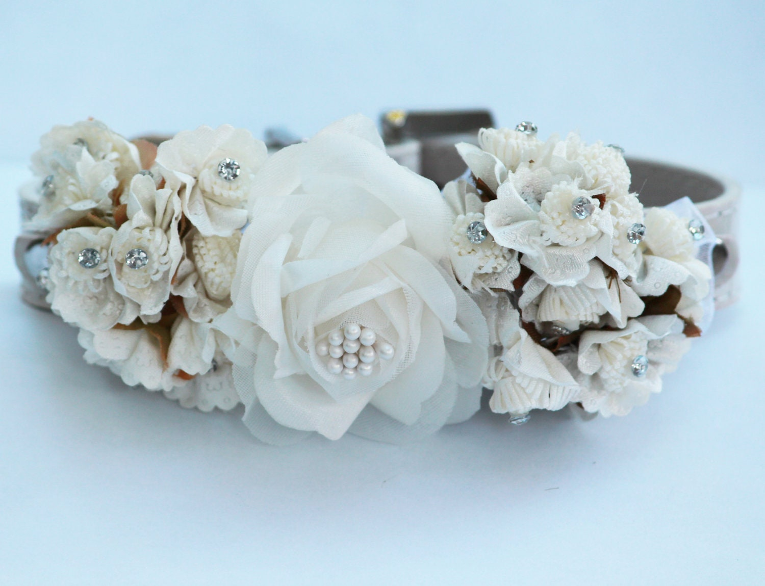 white wedding dog collars with white flowers high quality