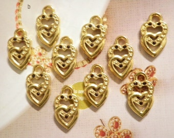 10 Goldplated Double Heart Pendants with Ruby Stones