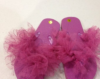 Pink tulle flip flops