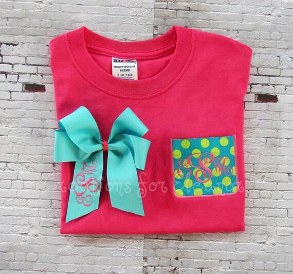 Girls monogrammed pocket t shirts girls by creationsforeleanor for Custom pocket t shirts