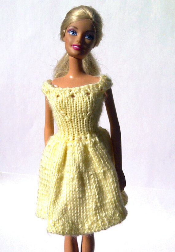 Knitted Yellow Barbie Dress