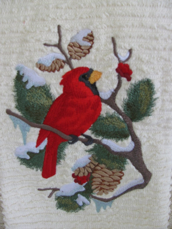 """Embroidered """"Christmas Cardinal & Berries"""" Kitchen Towel"""