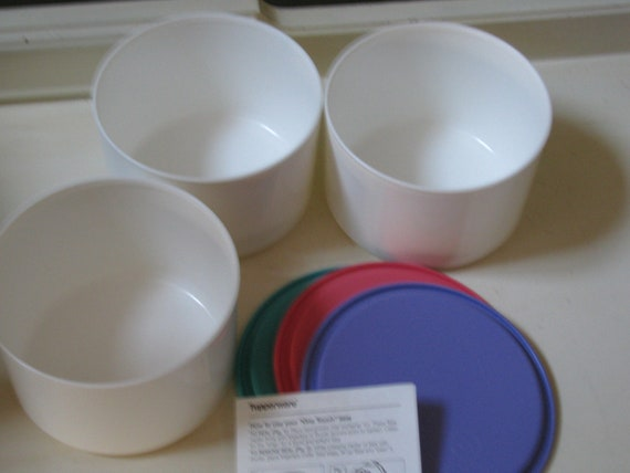 3 Tupperware One Touch Round Bowls & Lids New Old Stock 1980-90's