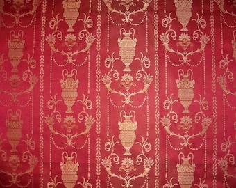 KOPLAVITCH POMPEII DREAMS Neoclassical Toile Damask Fabric 10 yards Pompeii Red Gold