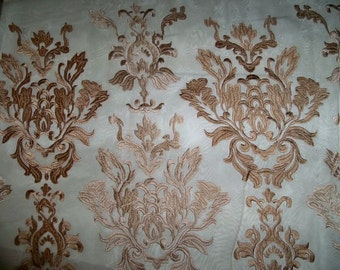 Koplavitch VICENZIA Embroidered SHEER Fabric 10 Yards 106 Doublewidth  GOLD Beige