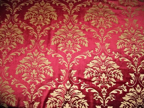 un de 1 yard pour le tissu damass rouge velours or. Black Bedroom Furniture Sets. Home Design Ideas