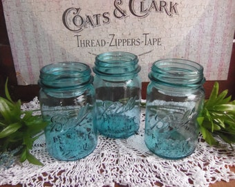 3 Vintage Pint Aqua Blue Ball Perfect Mason Jars NO LIDS