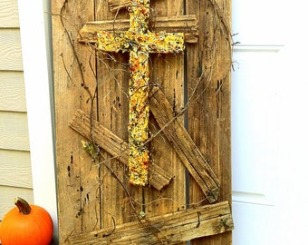 handmade original wood and plaster cross, large painted wall sculpture, grapevine, brown, gold, earth
