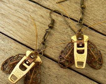 Steampunk Moth Zipper Earrings - Dangle Earrings - Steampunk Jewelry