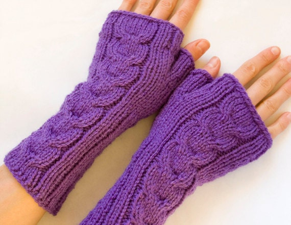 Knitting Pattern Long Fingerless Gloves : Cabled Fingerless Mittens Knit Long Purple Fingerless Gloves