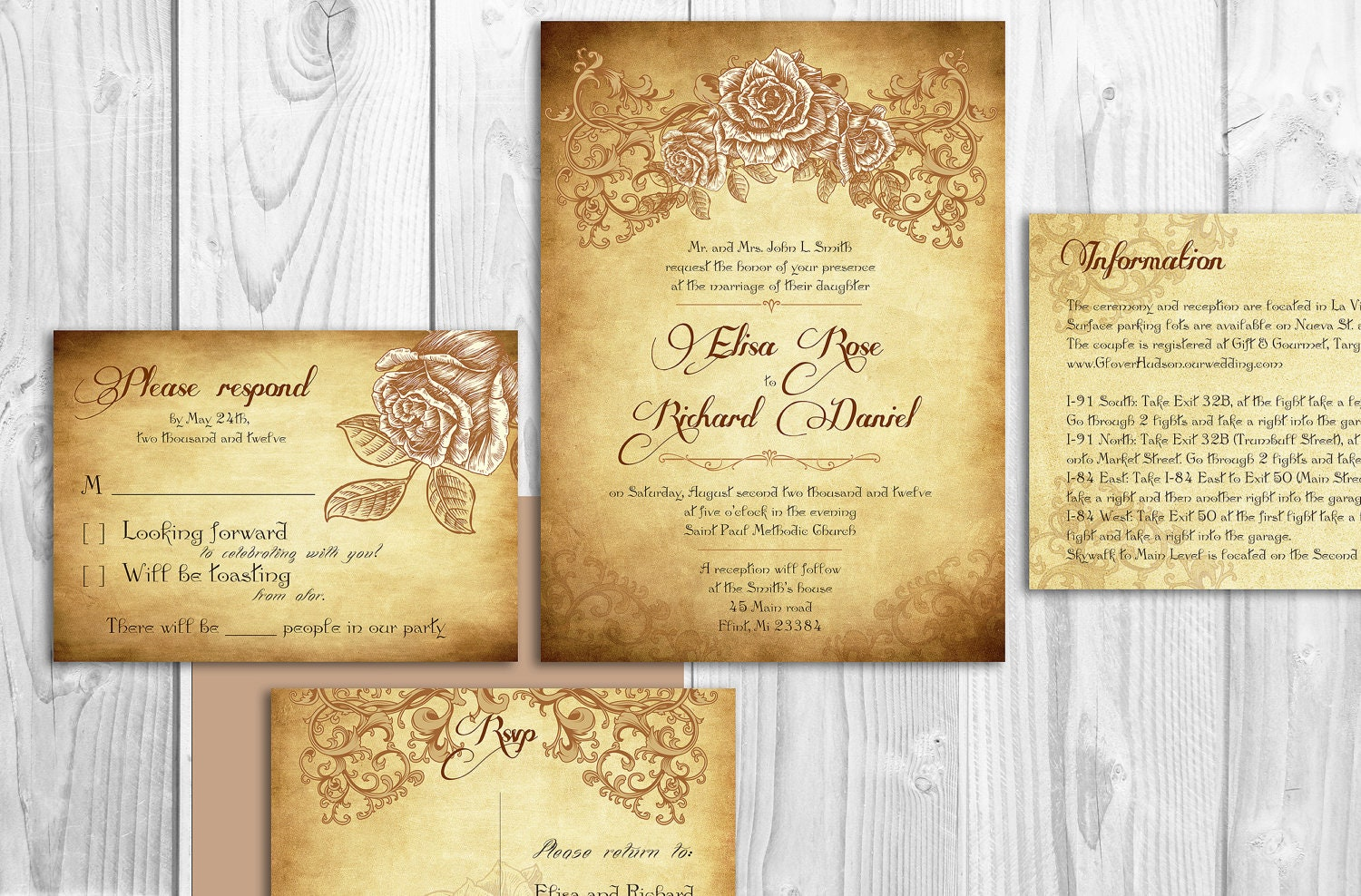 Printable Lace Elegant WEDDING INVITATIONS By DesignedWithAmore