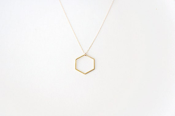 Minimal Hexagon Necklace - 14k Gold Filled Chain & Brass Pendant