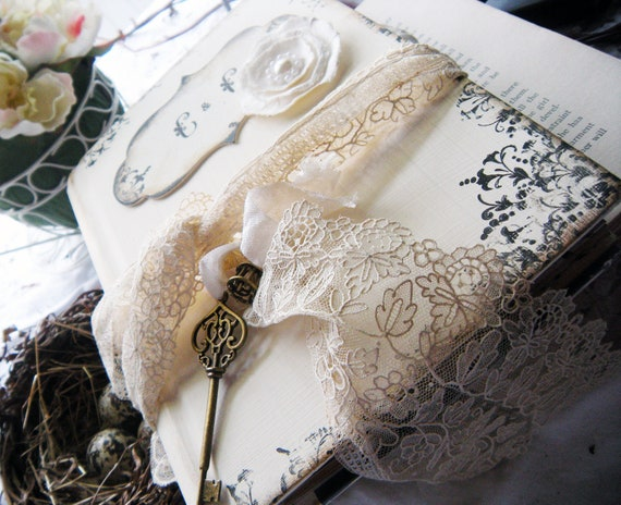 Wedding Guest Book in Shabby Chic Style Cream Vintage Lace
