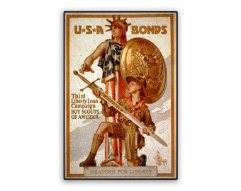 Vintage Poster USA Bonds Liberty Loan Campaign on 8x12 PopMount Ready to Hang FREE SHIPPING