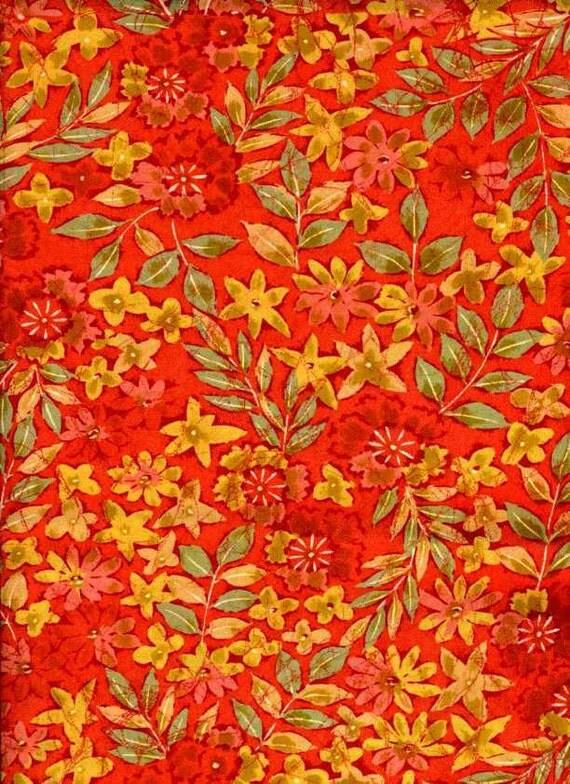 "Autumnal Coral Floral Vintage Recycled Kimono Silk Panel -- 14"" x 40"""