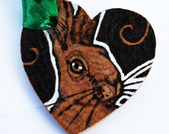 Hare Heart - Pyrography Gift Tag - Love Token - Personalised
