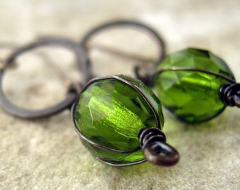 Green Glass & Hammered Copper Earthy Earrings