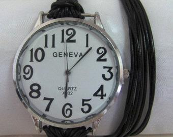 Women Leather Watch - Genuine Leather Wrap Bracelet Watch  FREE SHIPPING