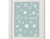 let it snow print, 8''x10'', free shipping, vintage design, frost, winter home decor, pastel