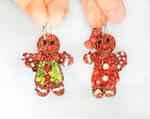 Reserved For Bonnie: Gingerbread Man and Woman Beaded Earrings
