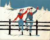 Five Vintage 1950s Western-Themed Christmas Cards