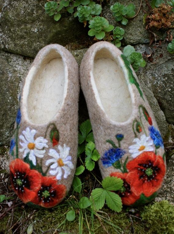 Felted Slippers- Meadow flowers