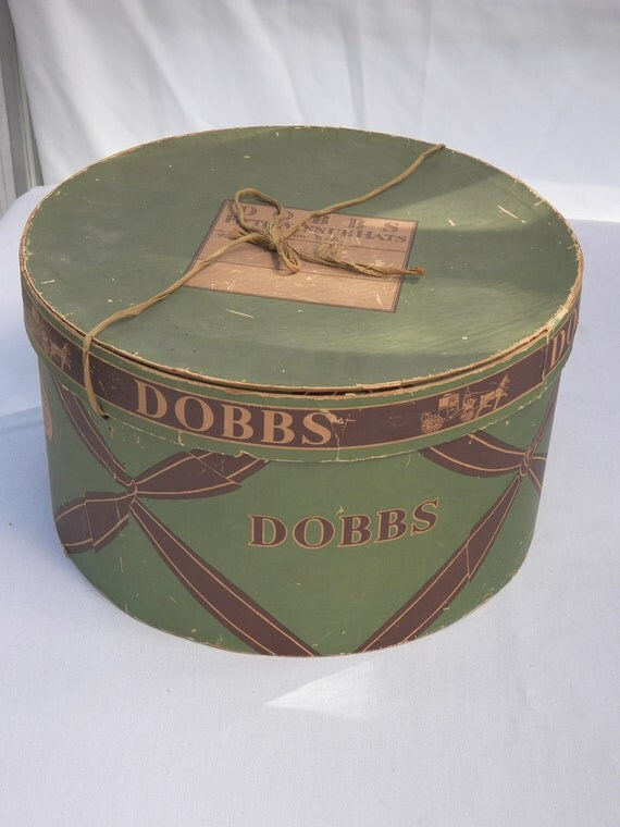 Old DOBBS Fifth Avenue New York Antique Hat Box- Horse and Buggy - Green Oval Box